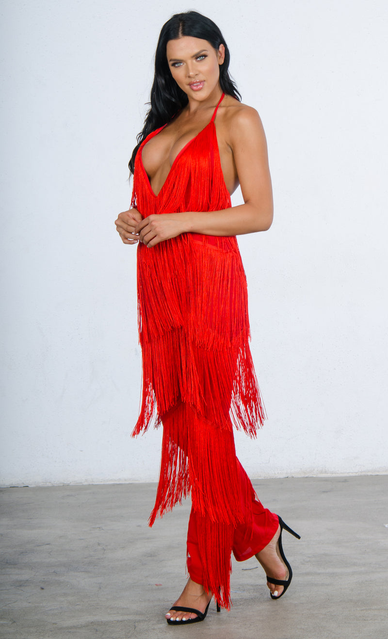 Indie XO All About Me Red Fringe Sleeveless Spaghetti Strap Plunge V Neck Loose Wide Leg Jumpsuit