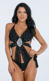 Indie XO Diamond Beach Khaki Rhinestone Crystal Triangle Top Tie Side Bikini Two Piece Swimsuit