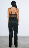 Indie XO It's All About You Fringe Black Sleeveless Spaghetti Strap V Neck Crop Top Wide Leg Loose Jumpsuit Two Piece Set