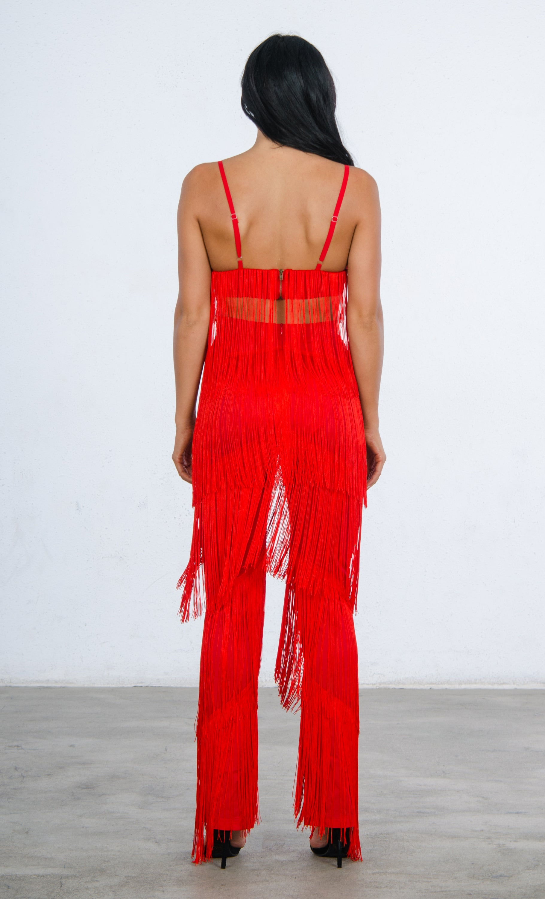 a8ab9652796e Indie XO It s All About You Fringe Red Sleeveless Spaghetti Strap V Neck  Crop Top Wide