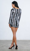 Indie XO Don't Hate Black Silver Sequin Geometric Pattern Long Sleeve Plunge V Neck Double Slit Bodycon Mini Dress - Sold Out
