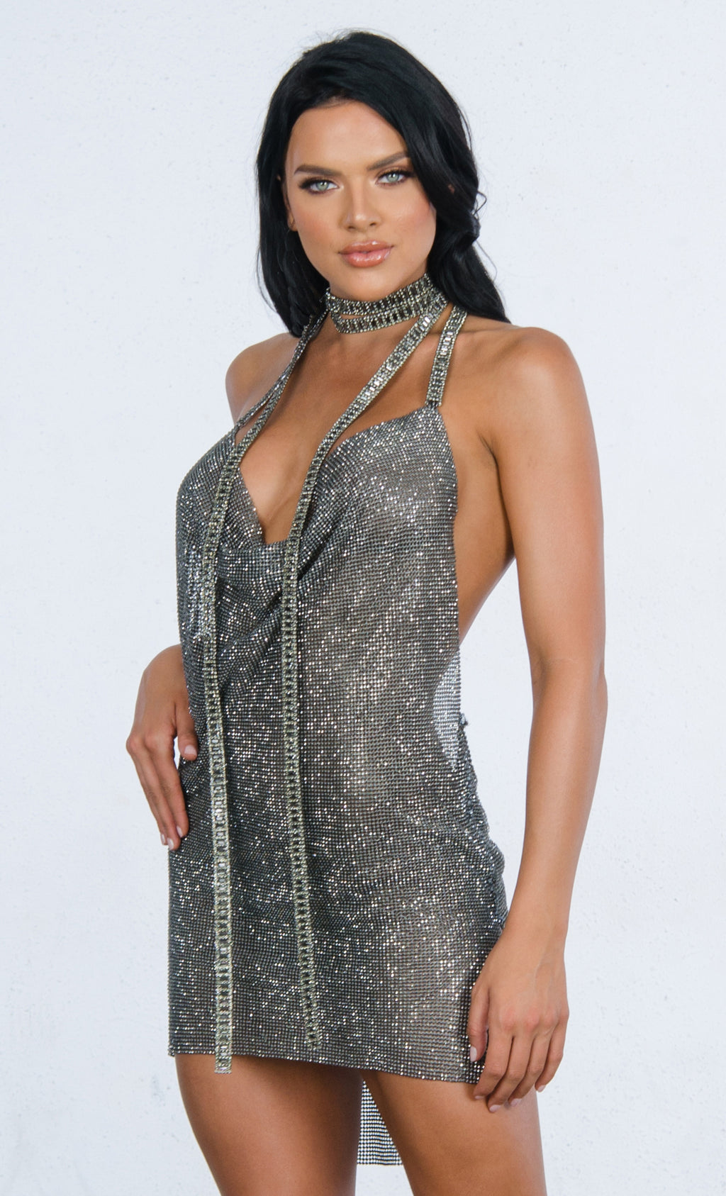 Indie XO Red Carpet Ready Black Smokey Diamanté Metallic Swarovski Crystal Rhinestone Mesh Baguette Cut Halter Chain Backless V Neck Mini Dress