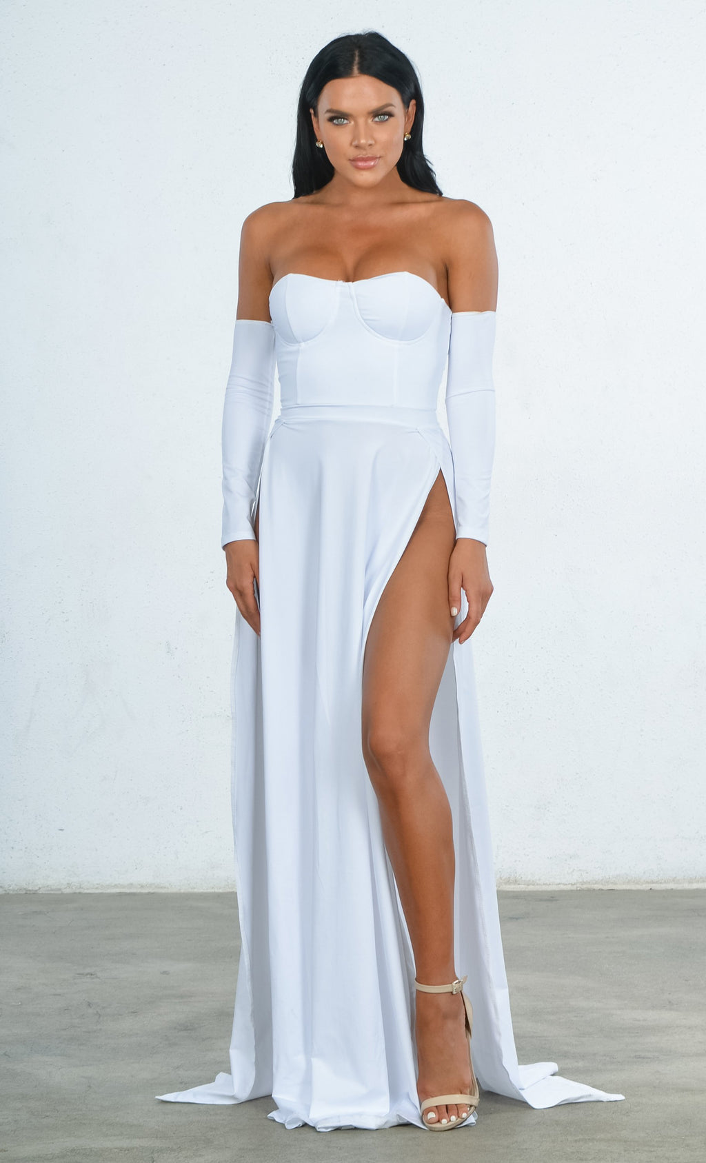 Indie XO You're An Angel White Double Slit Off the Shoulder Bustier Long Sleeve Maxi Gown Dress - 2 Colors Available