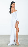 You're An Angel White Double Slit Off the Shoulder Bustier Long Sleeve Maxi Gown Dress