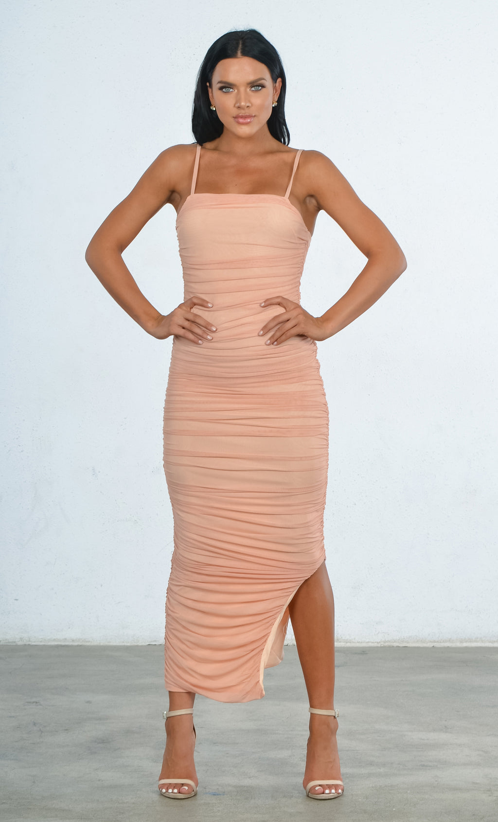 Indie XO Young And Rich Apricot Mesh Sleeveless Spaghetti Strap Square Neck Ruched Side Slit Bodycon Maxi Dress