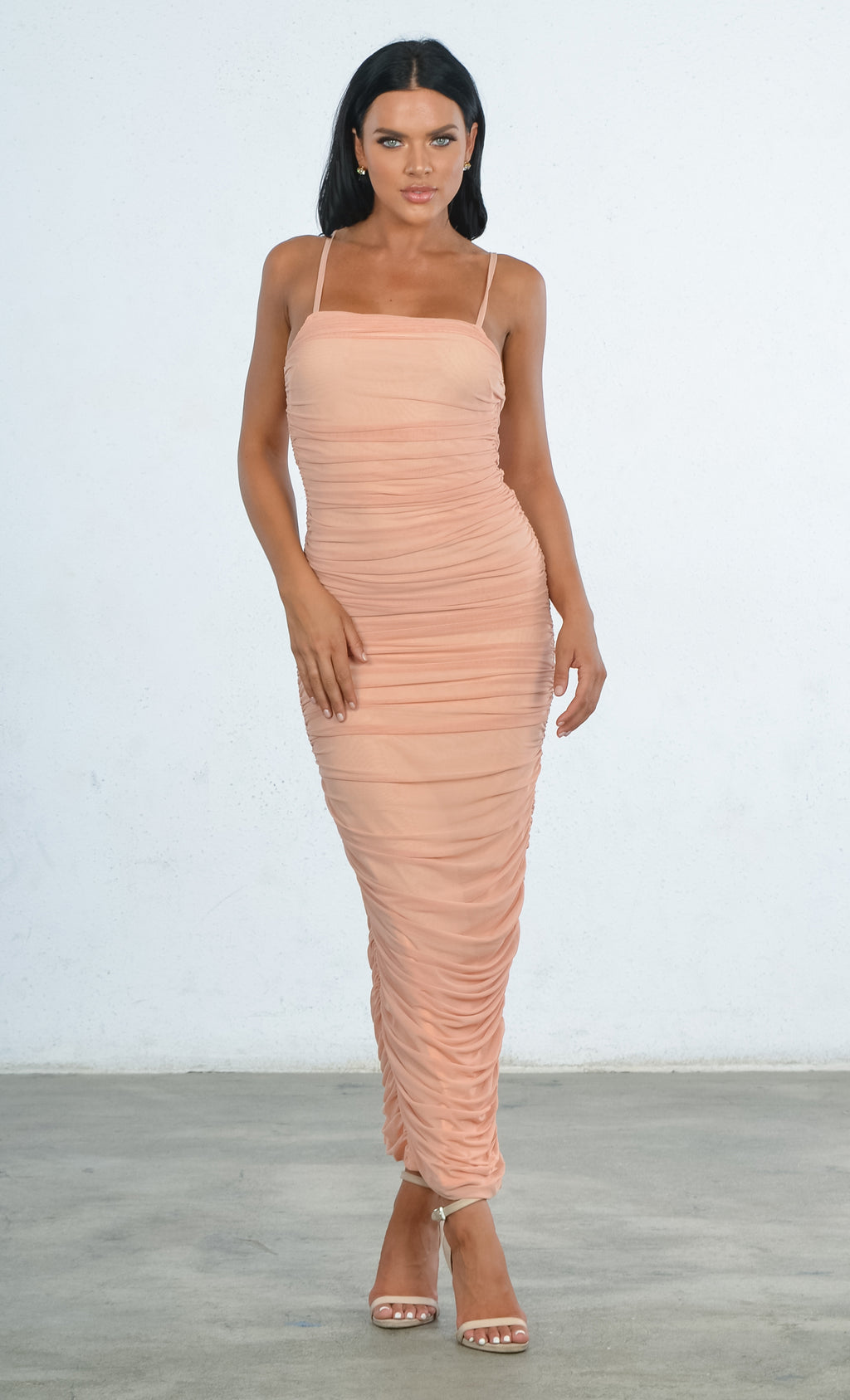 Indie XO Young And Rich Apricot Sleeveless Spaghetti Strap Square Neck Ruched Side Slit Bodycon Maxi Dress
