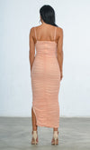Indie XO Young And Rich Taupe Mesh Sleeveless Spaghetti Strap Square Neck Ruched Side Slit Bodycon Maxi Dress