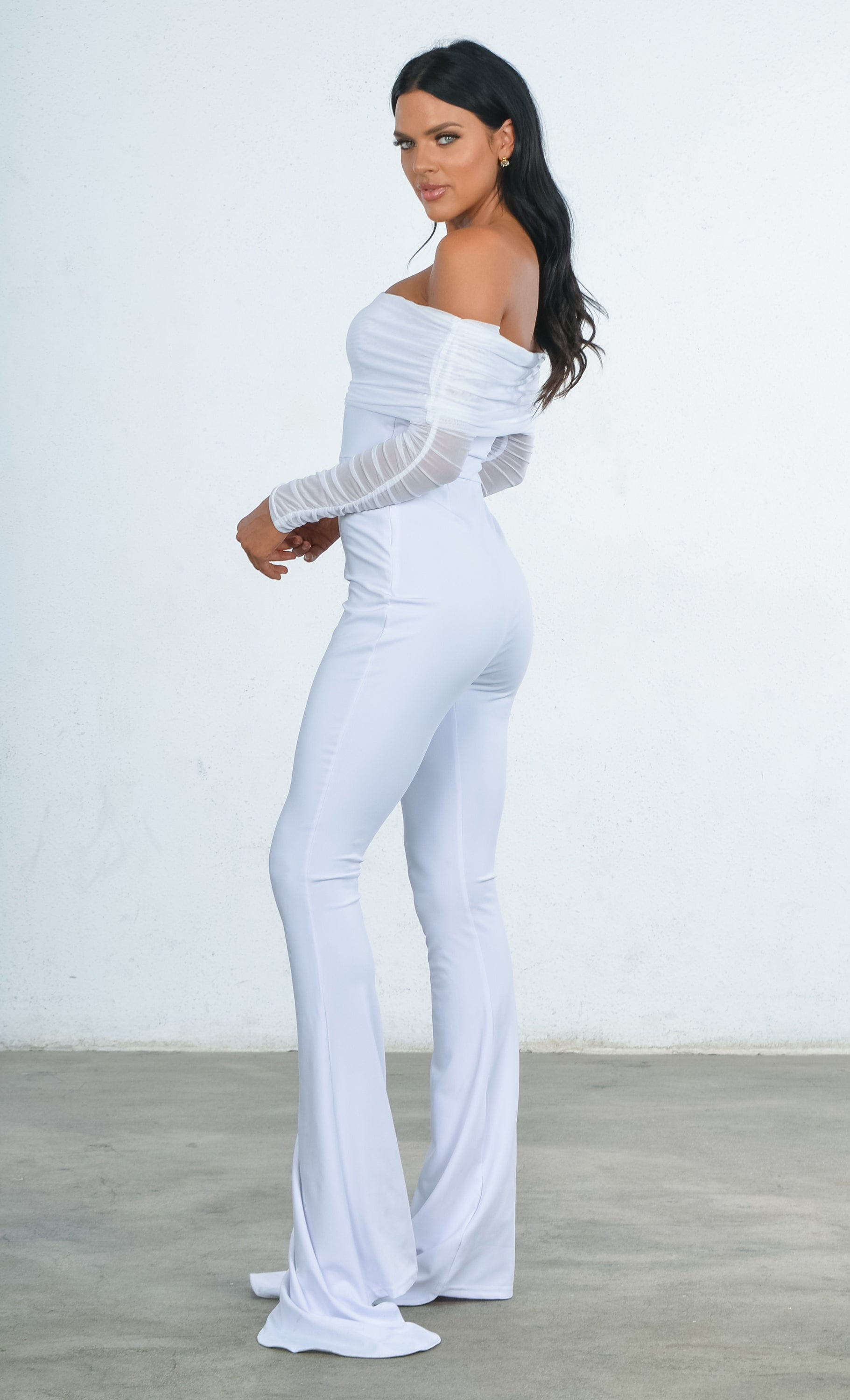 540ce61ec1a Indie XO Heavenly Bodies White Sheer Mesh Long Sleeve Off the Shoulder  Stretch Flare Train Leg