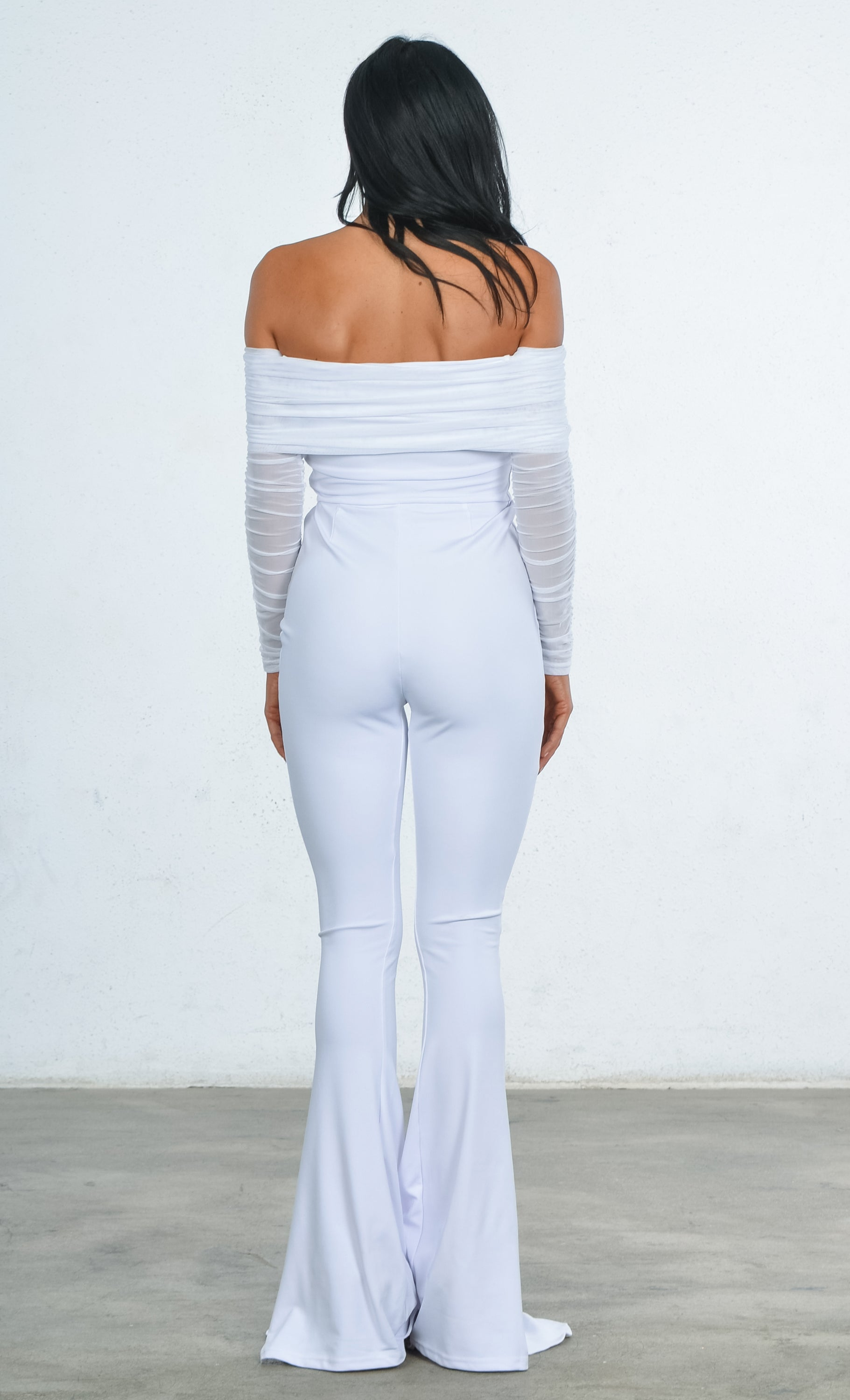 3d429603122 Indie XO Heavenly Bodies White Sheer Mesh Long Sleeve Off the Shoulder  Stretch Flare Train Leg