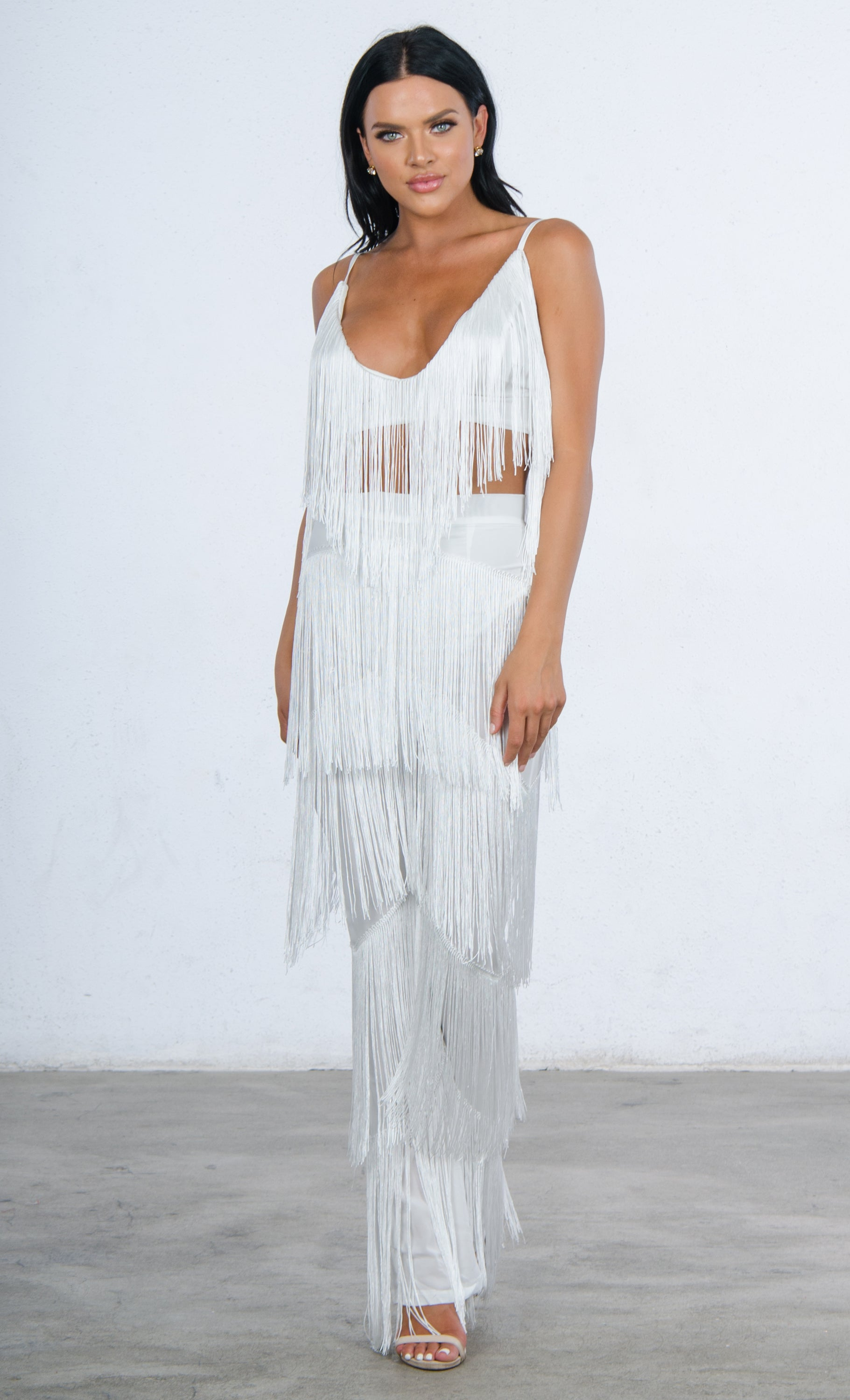 It's All About You Fringe Sleeveless Spaghetti Strap V Neck Crop Top Wide Leg Loose Jumpsuit Two Piece Set - 3 Colors Available