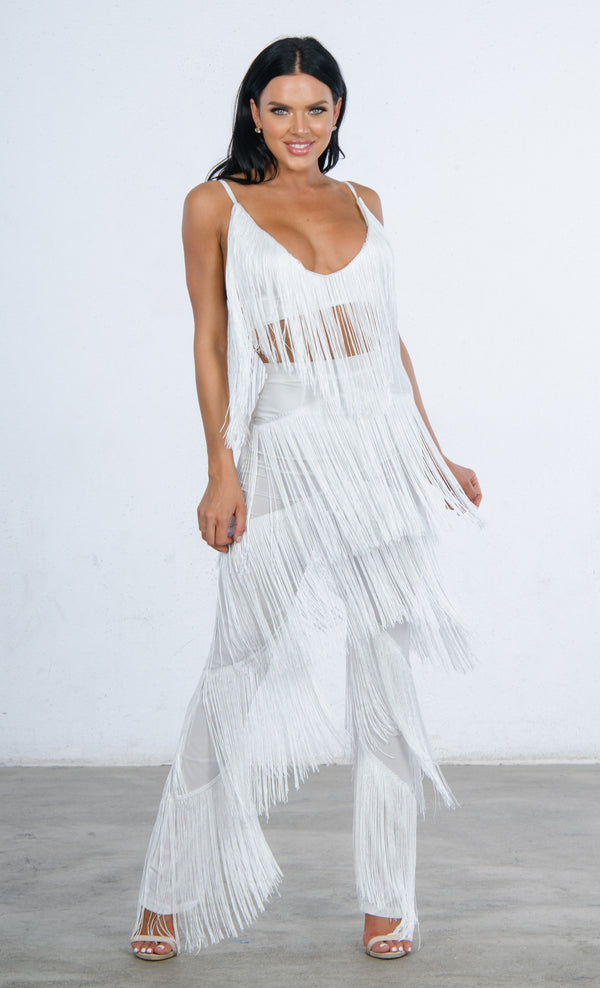 e8f6c67a128f It s All About You Fringe Sleeveless Spaghetti Strap V Neck Crop Top Wide  Leg Loose Jumpsuit
