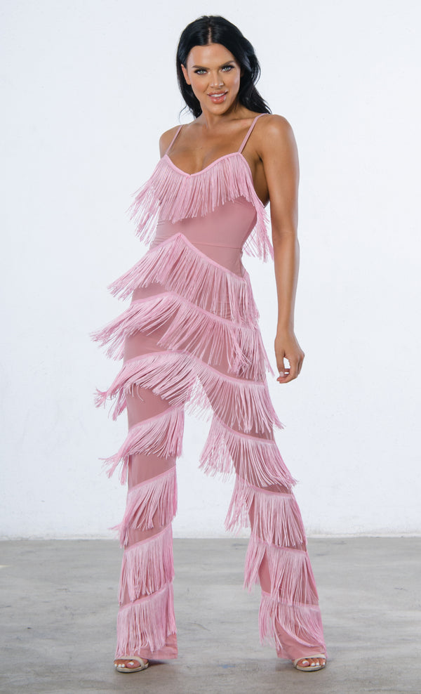 6d911c8b1a3c Indie XO Not Holding Back Pink Spaghetti Strap Fringe Mesh Tiered Jumpsuit  - 2 Colors Available