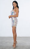 Skip The Line Silver Zig Zag Sequin Sleeveless Spaghetti Strap Square Neck Bodycon Mini Dress - Sold Out