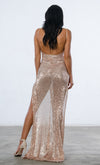Indie XO Mystery Girl Black Semi Sheer Sequin Sleeveless Spaghetti Strap Plunge V Neck Backless Double Slit Maxi Dress