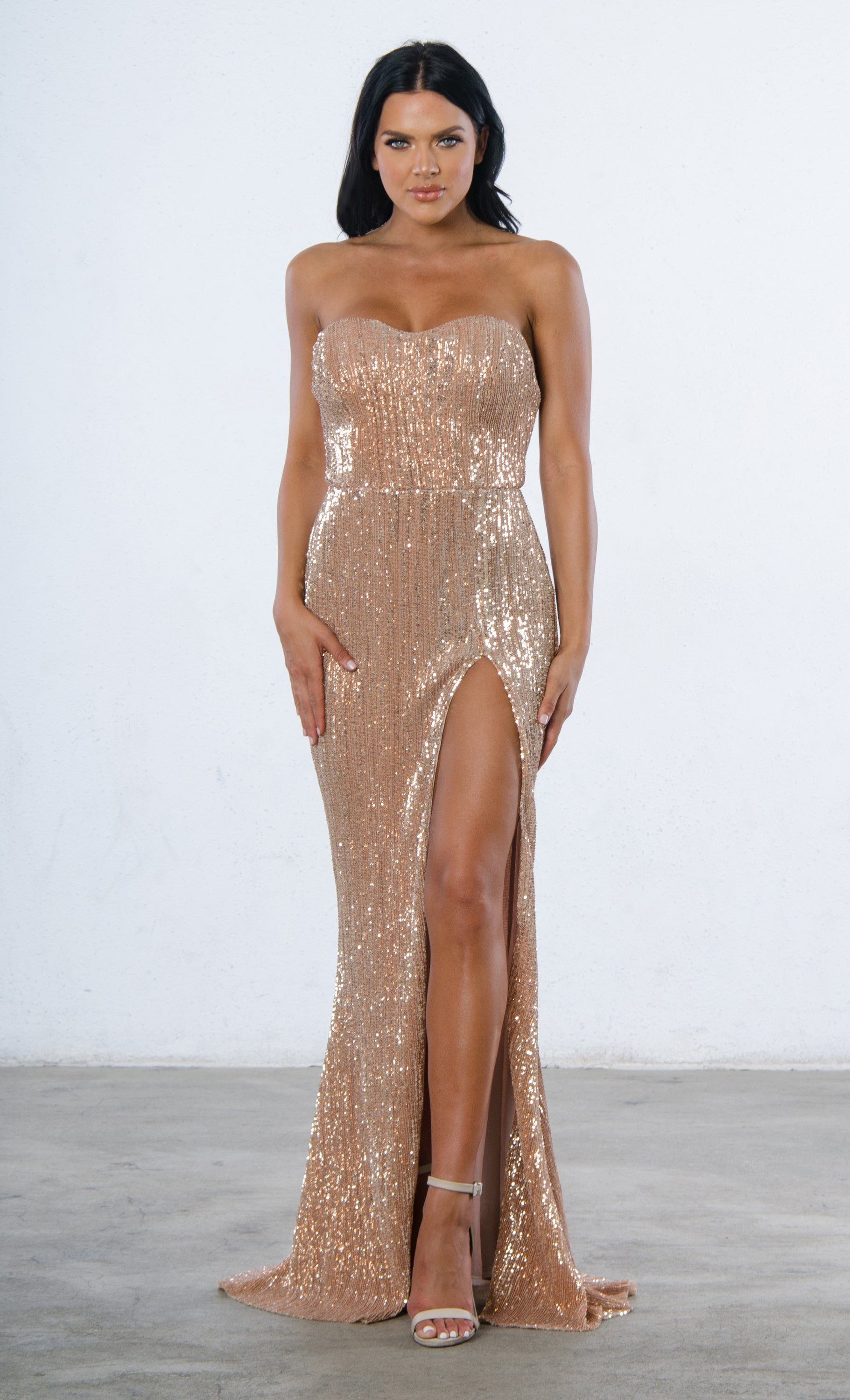 Show Me Some Love Champagne Sequin Strapless Sweetheart