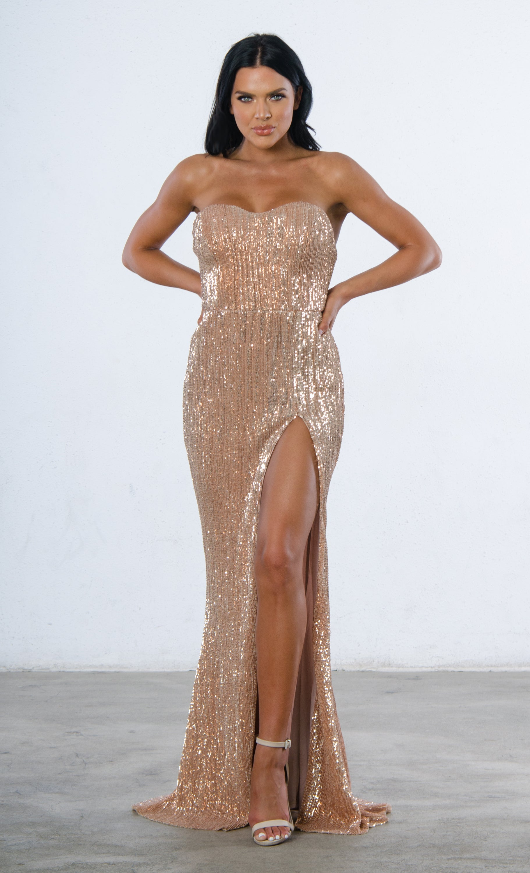 5068dd139b34 Show Me Some Love Champagne Sequin Strapless Sweetheart Neck High ...