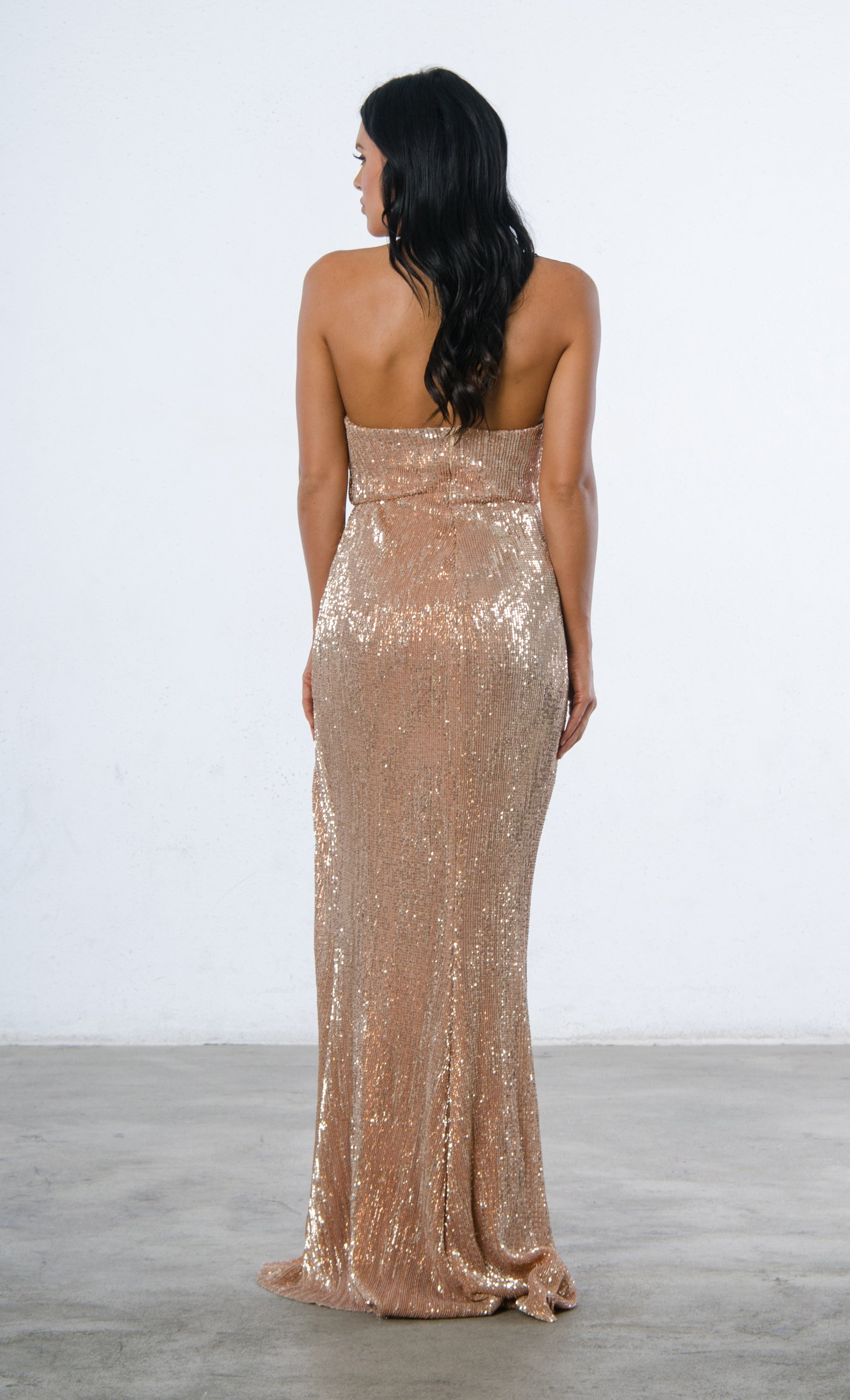 7901c475d57b View Video. https://vimeo.com/304962944. Show Me Some Love Champagne Sequin  Strapless Sweetheart Neck High Slit Fishtail ...