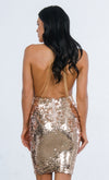 Indie XO Glitzy Girl Silver AB Sequin Sleeveless Plunge V Neck Backless Halter Bodycon Mini Dress