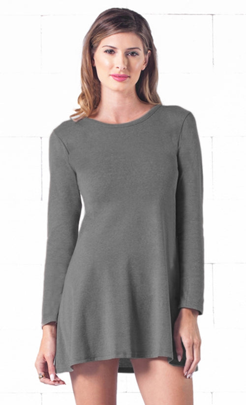 Indie XO Keeping it Casual Dark Grey O-Neck Long Sleeve Skater Circle A Line Flared Tunic Mini Dress - Just Ours