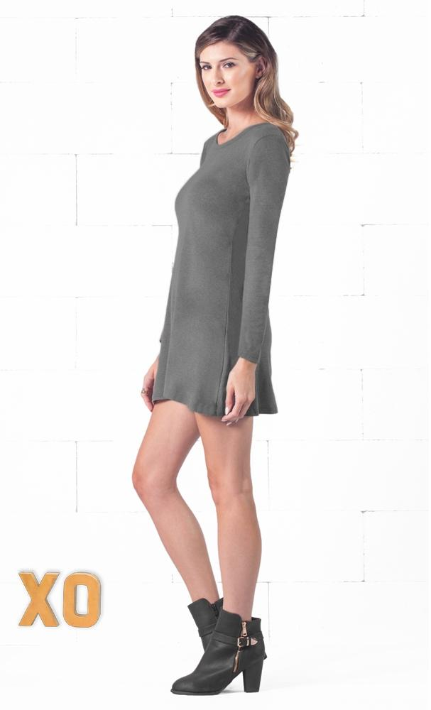 Indie XO Keeping it Casual Dark Grey O-Neck Long Sleeve Skater Circle A Line Flared Tunic Mini Dress - Just Ours - Sold Out