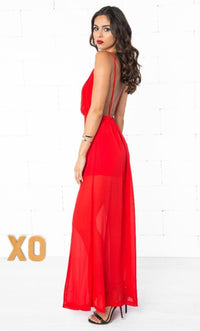 Indie XO Muse's Kiss Bright Red Slinky Chiffon Deep V Neck Sleeveless Slit Hem Open Back Maxi Dress - Just Ours! - Sold Out