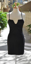 Deep V Neck Sleeveless Spaghetti Strap Body Con Fitted Mini Dress -  Sold Out