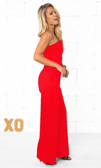Indie XO Take the Plunge Red Sleeveless Strapless Deep V Plunging Neck Fitted Full Wide Ankle Length Pants Jumpsuit - Just Ours! - Sold Out