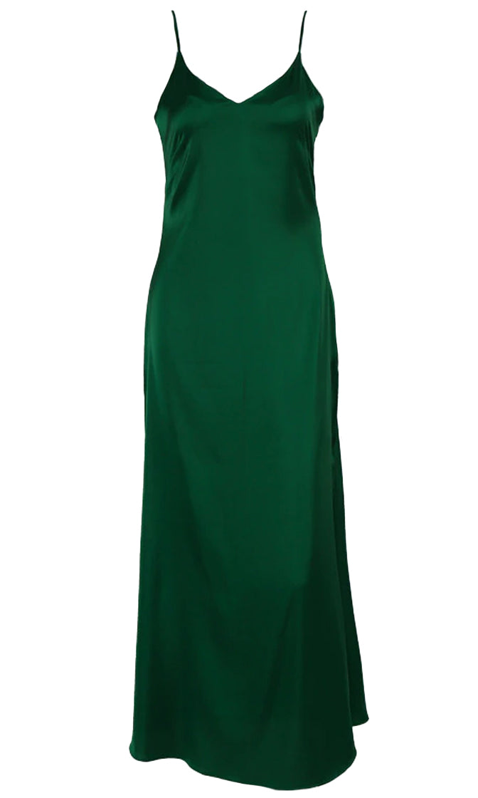 Jealous Much Satin Sleeveless Spaghetti Strap V Neck Maxi Dress