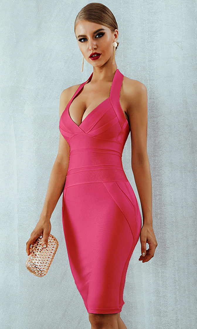 There's No Way Fuchsia Pink Sleeveless Halter V Neck Bodycon Bandage Midi Dress