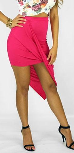 Hot Fuchsia Pink Ruched Twisted Asymmetric Hem Mini Maxi Skirt - Sold Out