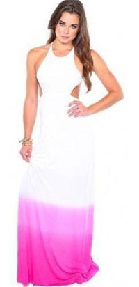 Hot Fuchsia Pink White Ombre Sleeveless Open Back Dye Cut Out Maxi Dress - Sold Out