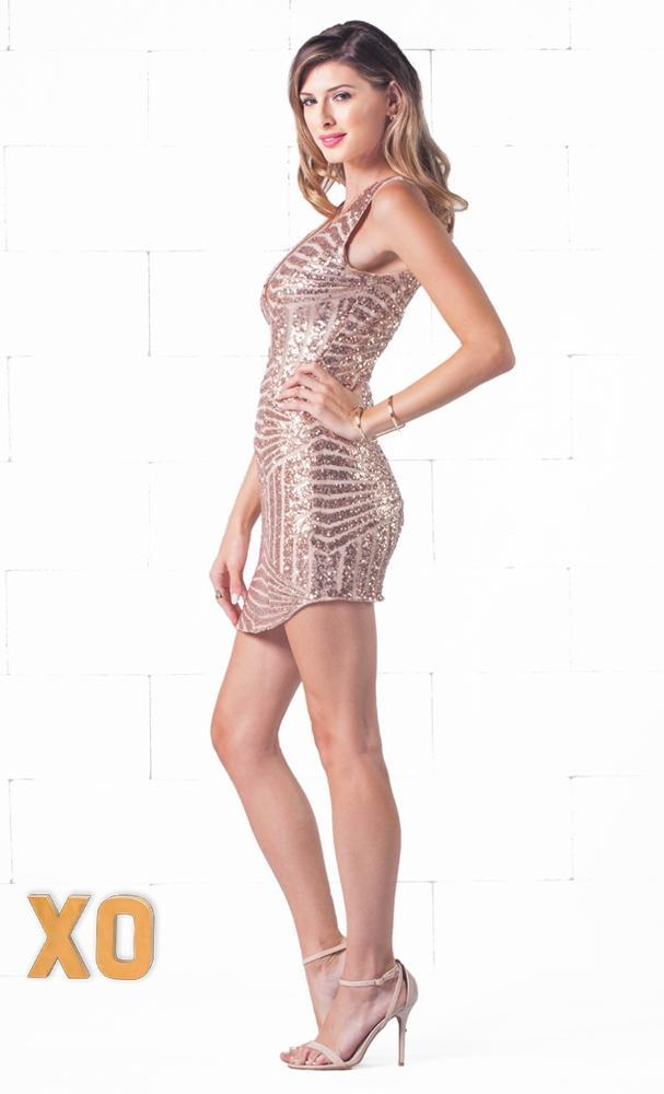 Indie XO Passionate Seduction Rose Gold Sequin Chevron Stripe Plunging Deep V Sleeveless Fitted Mini Dress - Just Ours! - Sold Out
