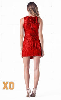 Indie XO Passionate Seduction Red Sequin Chevron Stripe Plunging Deep V Sleeveless Fitted Mini Dress - Just Ours!- Sold Out