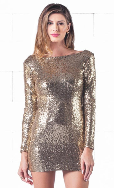 Indie Xo Sparkling Night Gold Sequin Long Sleeve Open