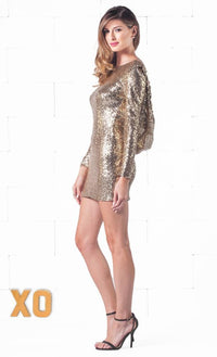 Indie XO Sparkling Night Gold Sequin Long Sleeve Open Draped Backless Bodycon Dress - Sold Out