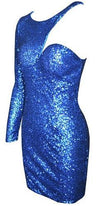 Gold Sequin One Shoulder Long Sleeve Fitted Mini Dress - Only Blue in Stock now - Sold Out