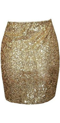 Glittery Gold Sequined High Waist Tulip Hem Wrap Mini Skirt  -  Sold Out