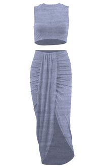 Sweep Me Off My Feet Sleeveless Round Neck Crop Top Draped High Low Split Midi Two Piece Dress