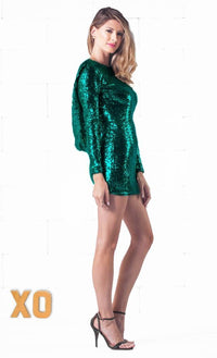 Indie XO Sparkling Night Green Sequin Long Sleeve Open Draped Backless Bodycon Dress - Just Ours! - Out of Stock