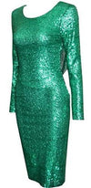 Green with Envy Emerald Green Sequined Drape Back Long Sleeve Backless Bodycon Midi Dress - Sold Out