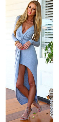 Light Grey Deep Plunging V-Neck Ruched Gathered Twist Knot Tie Waist Long Sleeve Asymmetric Wrap Slit Full Length Maxi Dress - Sold Out
