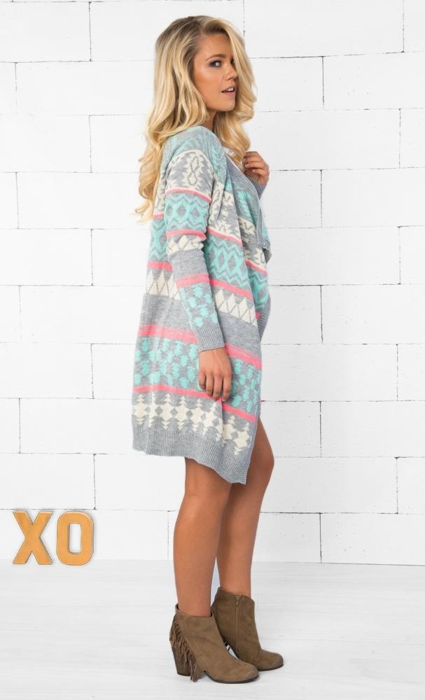 Indie XO West End Grey Mint Pink Ivory Aztec Tribal Knit Long Sleeve Open Cardigan Sweater - Back In Stock - Sold Out