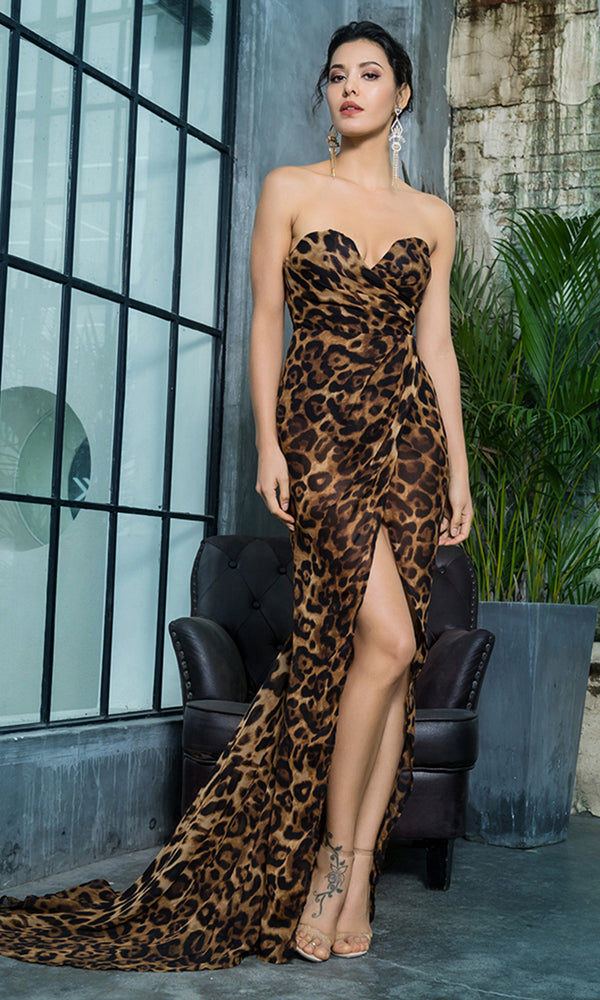 Out Of My Way Brown Leopard Pattern Strapless V Neck Chiffon Wrap High Slit Maxi Dress