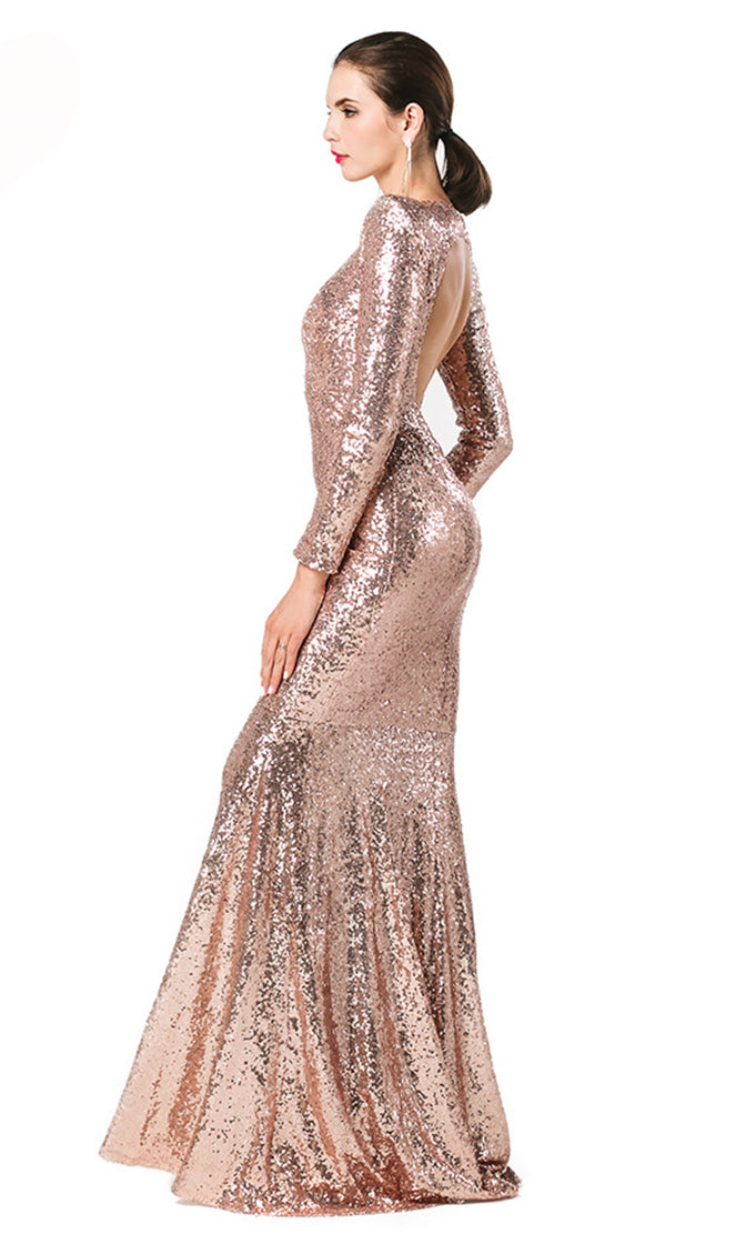 Leading Lady Rose Gold Modest High Round Neck Padded Shoulder Long Sleeve Sequin Scoop Neck Cut Out Open Back Mermaid Maxi Dress