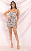 In The Wild Animal Leopard Pattern Ruched Mesh Sleeveless Spaghetti Strap Square Neck Bodycon Mini Dress