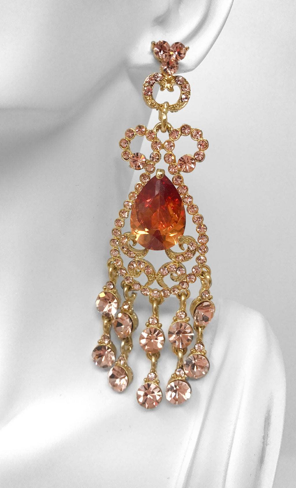 Indie XO Taj Mahal Gold Plated Citrine Orange Swarovski Crystal Rhinestone Fringe Chandelier Earrings