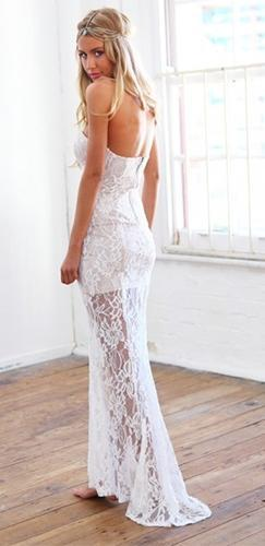 Ivory Floral Lace Plunging Sweetheart Asymmetric Split Hem Fitted Maxi Dress - Sold Out