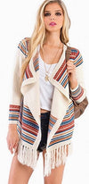 Red Teal Ivory Aztec Print Asymmetric Thigh Length Fringe Hem Cardigan Chic - Back in Stock - Sold Out
