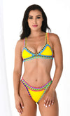 Blinky Beach Bra Neoprene Yellow Purple Blue Mint Crochet Trim Triangle Bikini Swimsuit Top