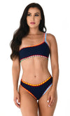 Hawaiian Spirit Navy Sleeveless One Shoulder Crochet Elastic Two Piece Bikini Swimsuit